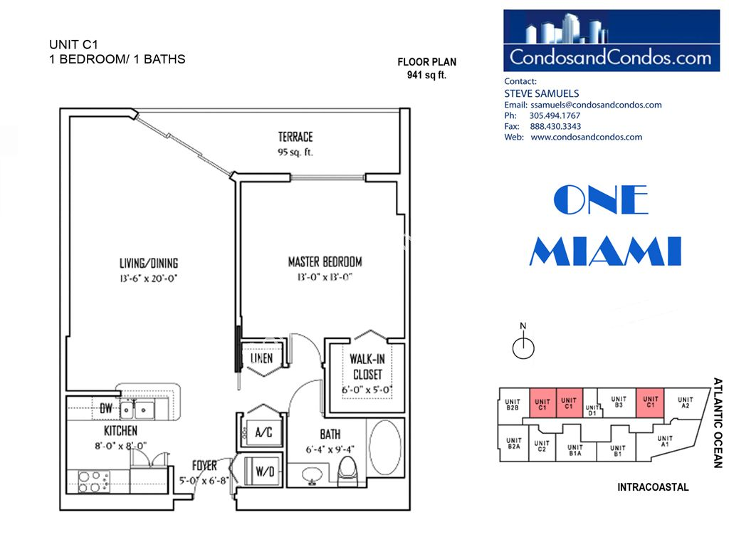 One Miami West - Unit #C1 with 941 SF
