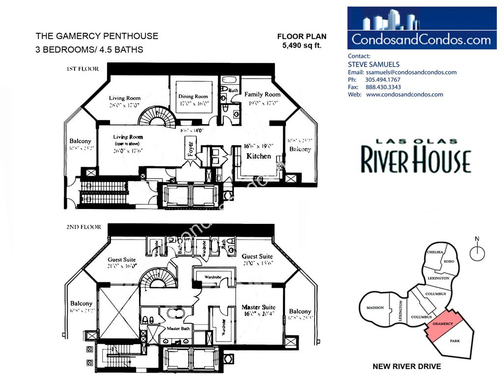 Las Olas River House - Unit #The Gamercy Penthouse with 5490 SF