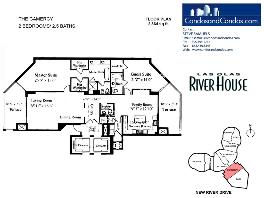 Las Olas River House - Unit #The Gamercy with 2864 SF