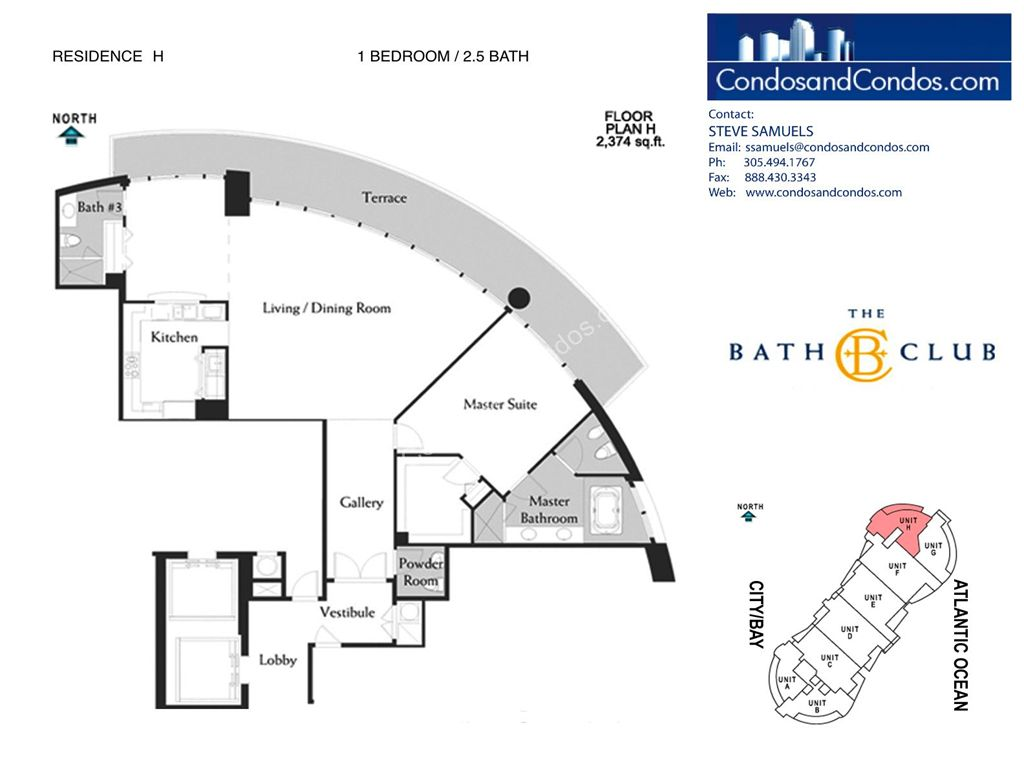 Bath Club - Unit #H-08 with 2374 SF