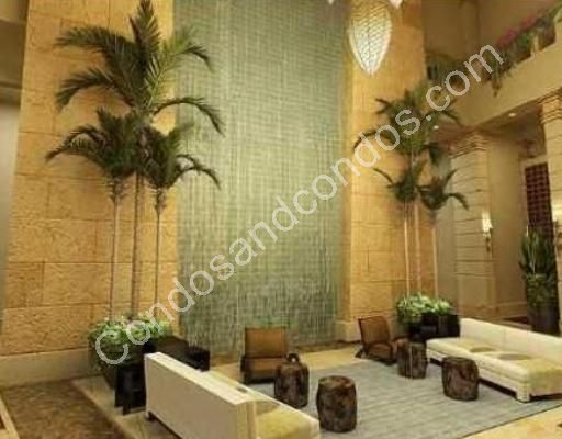 Relaxing social room with tranquil waterfall feature