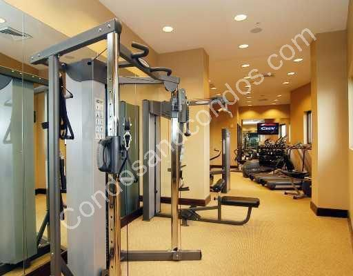 Fitness center with aerobic and weight training equipment